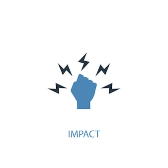 Impact concept 2 gekleurd icoon. eenvoudige blauwe elementenillustratie. impact concept symbool ontwerp. kan worden gebruikt voor web- en mobiele ui/ux