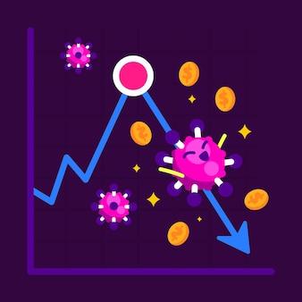Impact van het coronavirus op de economie Gratis Vector