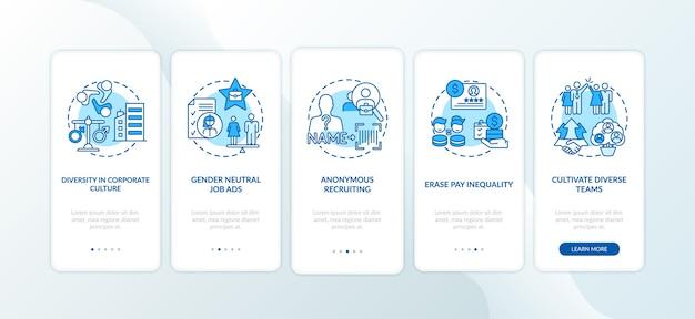 Implementatietips voor genderdiversiteit bij het onboarding van het paginascherm van de mobiele app met concepten