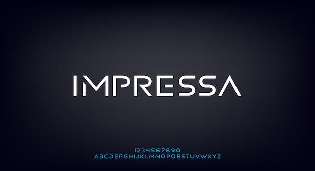 Impressa, een abstract futuristisch alfabetlettertype met technologiethema. modern minimalistisch typografieontwerp