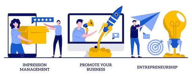 Impressiebeheer, promoot uw bedrijf, illustratie van ondernemerschap met kleine mensen