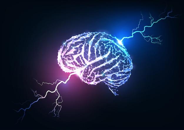 Impuls van het menselijk brein. futuristische gloeiende lage veelhoekige hersenen en bliksemschichten.