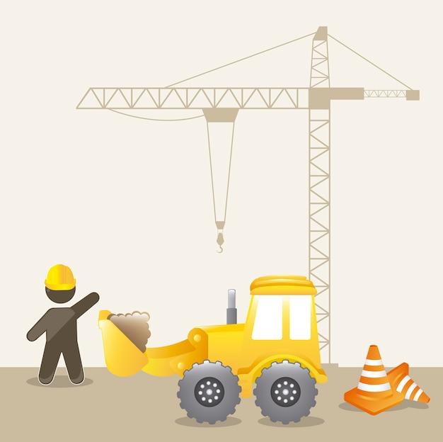 In aanbouw achtergrond met man cartoon vectorillustratie