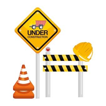 In aanbouw barrière verkeersbord kegel waarschuwing