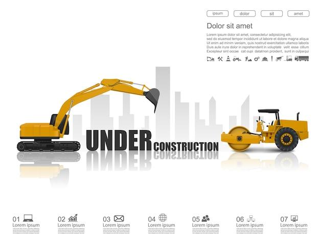 In aanbouw concept met bouwmachines