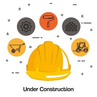 In aanbouw helm hard werktools pictogram