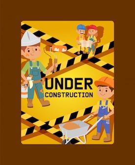In aanbouw kaart kinderen bouwer karakter gebouw ontwerp illustratie