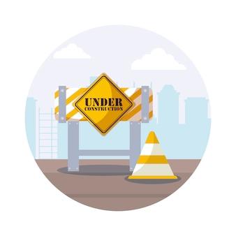 In aanbouw label met barricade hek