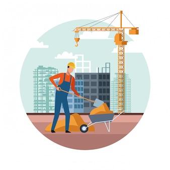In aanbouw landschap met bouwer het werken