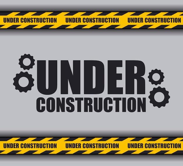 In aanbouw met voorzichtigheidstape voor website