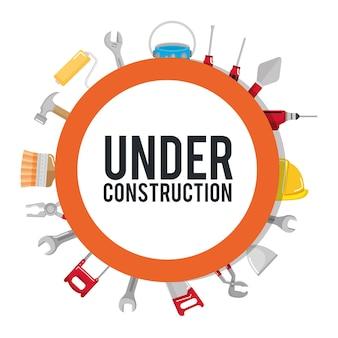 In aanbouw poster gereedschappen reparatie bouwen