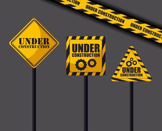 In aanbouw tekens en voorzichtigheidstape
