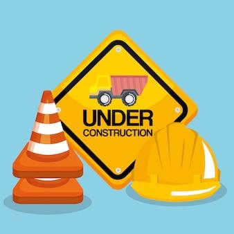 In aanbouw verkeerstekenhelm en verkeerskegel
