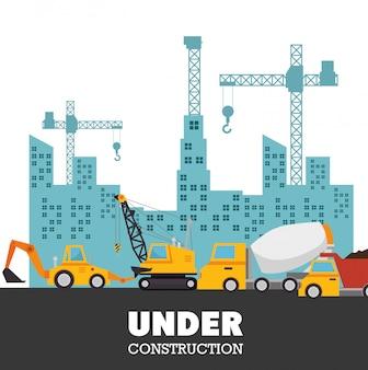 In aanbouw vrachtwagens stedelijke achtergrond