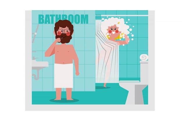 In de badkamer zijn mannen aan het poetsen, vrouwen zwemmen. een man roepen om haar een handdoek te halen, cartoon character design. platte stijl.