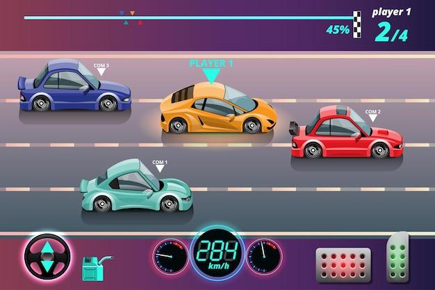 In de gamecompetitie gaat de speler verder met het gebruik van een hogesnelheidsauto om te winnen in het racespel.