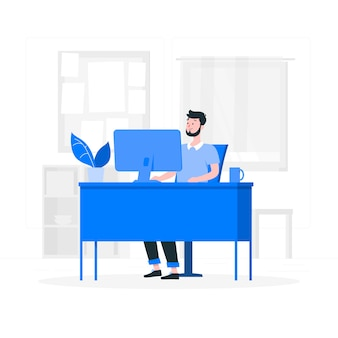 In de illustratie van het kantoorconcept