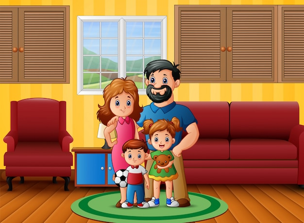In de woonkamer en gelukkige familie