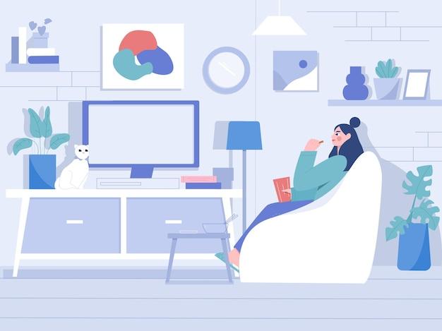 In de woonkamer televisie kijken vlakke afbeelding