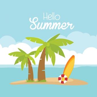 In de zomervakantie kaart, surfplank bal palmboom strand