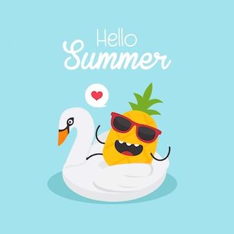 In de zomervakantie, opblaasbare zwaan met een ananas in een zwembad