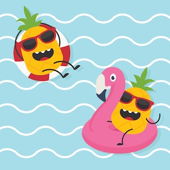 In de zomervakantie, pineapple character summer illustration