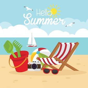 In de zomervakantie, strand met zomervakanties