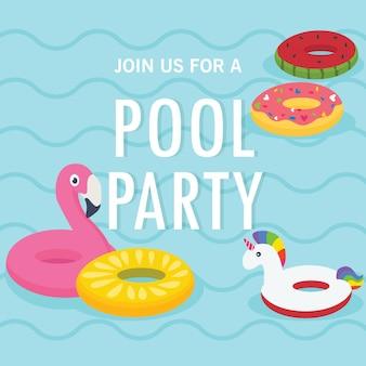 In de zomervakantie, uitnodiging voor zwembadfeest. zwembad en opblaasbare ringen