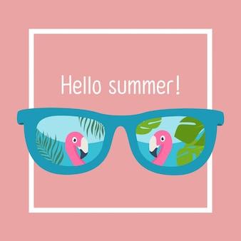 In de zomervakantie, zonnebril met flamingo's
