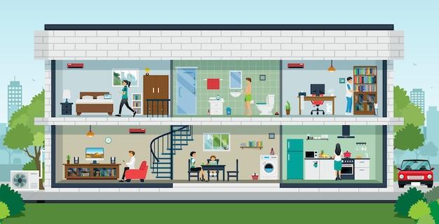 In een gezinswoning met verschillende kamers en leden
