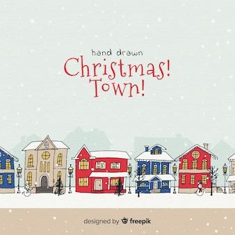 In hand getrokken ontwerp van de kerststad
