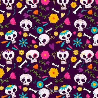 In hand getrokken ontwerp van het schedels het naadloze patroon