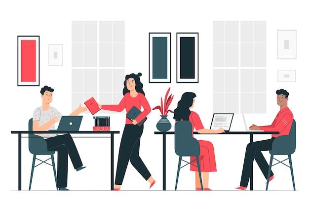 In het kantoor illustratie concept