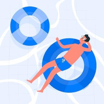 In het zwembad concept illustratie