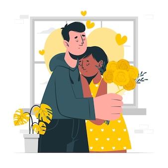 In liefde concept illustratie