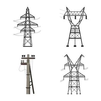 In lijnstijl transmissie van elektriciteit cartoon icoon.