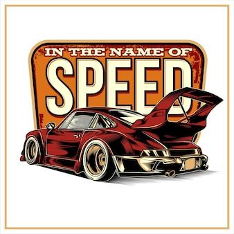 In naam van snelheid, vintage illustratie