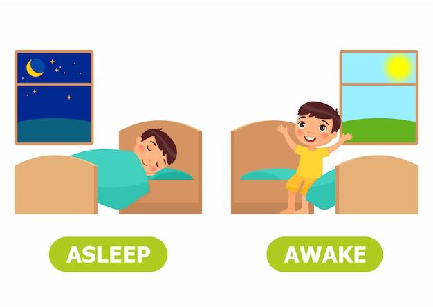 In slaap en wakker illustratie.