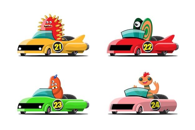 In snelheid racegame competitie gebruikte monster driver speler hoge snelheid auto om te winnen in racegame Gratis Vector