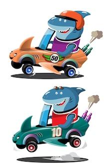 In snelheidsracegame-competitie gebruikte haaienbestuurder een snelle auto om te winnen in het racespel