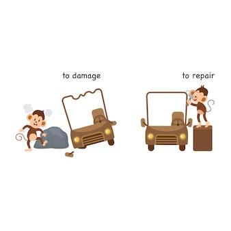 In tegenstelling tot schade en om vectorillustratie te repareren