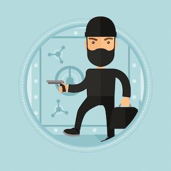 Inbreker met pistool in de buurt van veilig