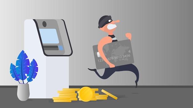 Inbreker ontsnapt met een creditcard. de crimineel loopt met een bankkaart. overval pinautomaat. cartoon stijl illustratie. fraude begrip. vector.