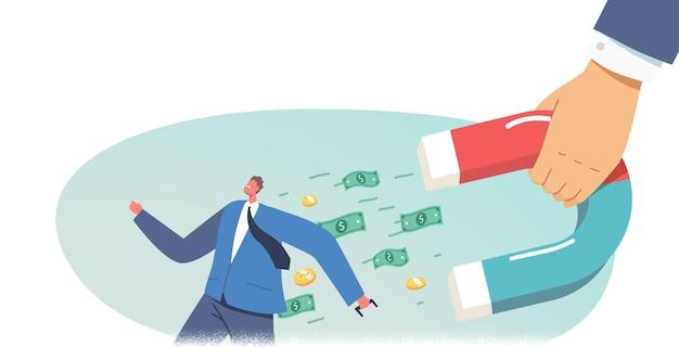 Incassoconcept. zakenmankarakter ontsnap uit enorme hand met magneet die geld uit zakken trekt