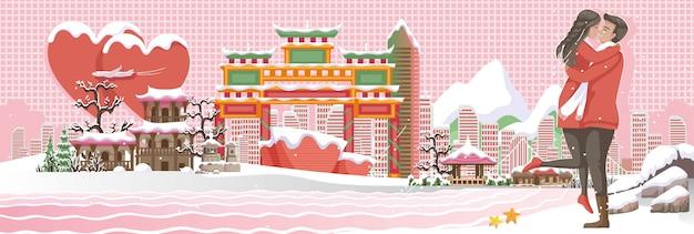Incheon is reisoriëntatiepunten van koreaanse bannerachtergrond