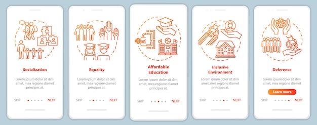 Inclusief onderwijs onboarding mobiele app paginascherm met concepten. speciale voorwaarden voor gehandicapten walkthrough vijf stappen grafische instructies. ui-vectorsjabloon met rgb-kleurenillustraties