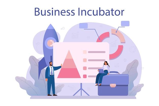 Incubator bedrijfsconcept. mensen uit het bedrijfsleven en investeerders die nieuwe bedrijven ondersteunen. geld en professionele hulp voor opstartproject.