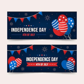 Independence day horizontale banners stijl