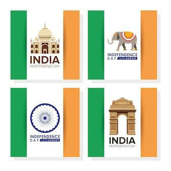 Independence day india met vlaggen en set pictogrammen