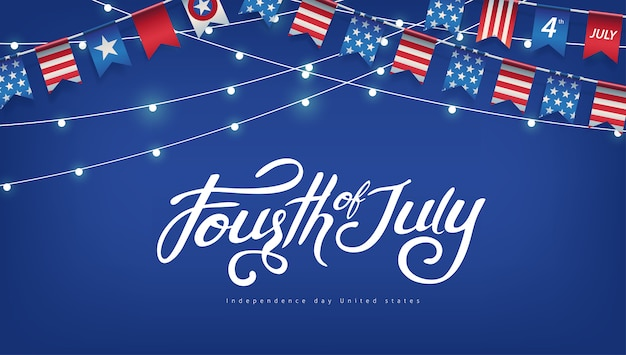 Independence day usa sjabloon voor spandoek amerikaanse vlaggen slingers en gloeiende lichten decor. 4 juli-viering